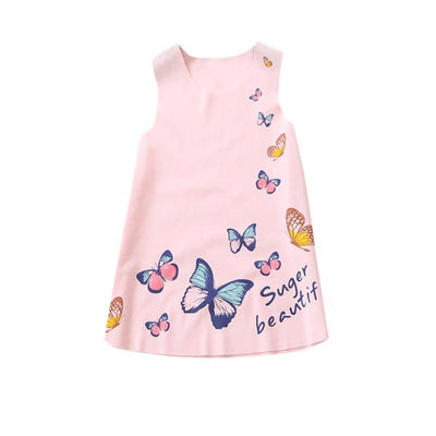 - 2-7Y Kids Girls Sleeveless Dress Summer Girls Ice silk Clothes Baby Girl Butterfly Princess Party Dresses LH6s - Pink / 2T  jetcube