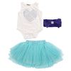 - 0-18M Newborn Infant Baby Girls Clothes Sleeveless Heart Bodysuit Romper + Tutu Skirt + Headband 3pcs Outfit Kids Clothing Set - Green / 0-3 months  jetcube