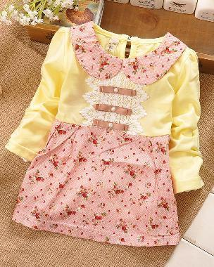 - (1piece /lot) 100% cotton baby princess dress autumn 2016 free shipping - Multi / 12M  jetcube