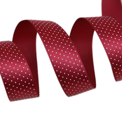 - (5 yards/lot) Small Dots Printed Satin ribbon lovely series ribbons wholesale (25mm&40mm) - Wine Red / 25mm  jetcube