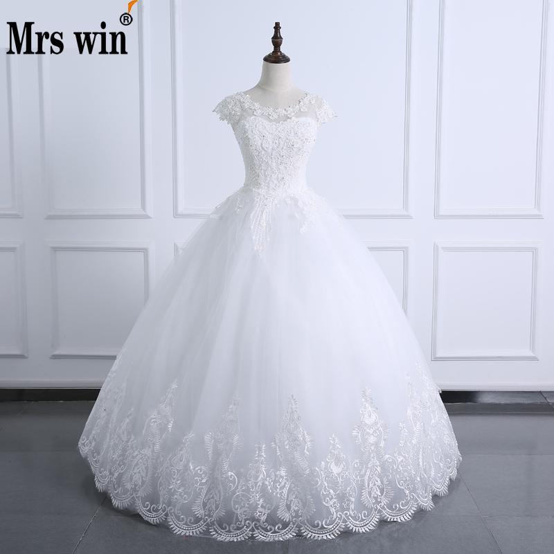 f89b87cc83 2017 Ball Gown O Neck Wedding Dress Lace Body Pearls Short Sleeve Wedding Gown  Plus Size