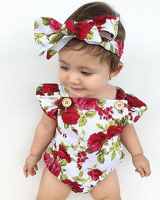 - 0-24M Floral Baby Girl Clothes Summer Ruffles Halter Romper +Headband Outfit Toddler Kids Clothing Set -   jetcube