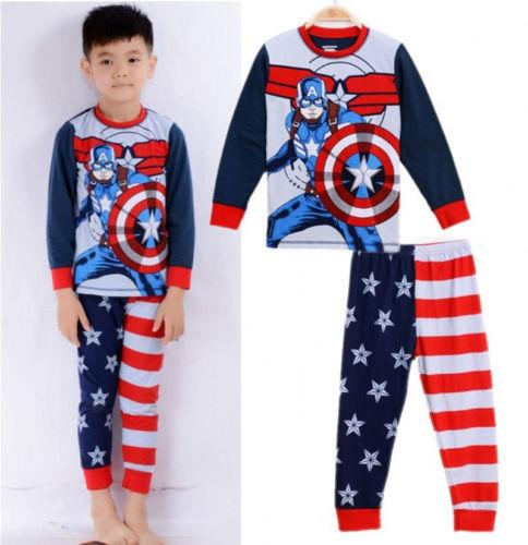 Captain America Baby Kids Boys Clothes Sleepwear Pyjama Pajamas 2 pcs Set 2T-7T