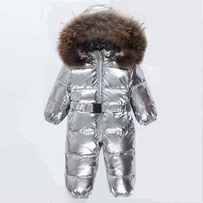 - -30 Degree Winter Baby Snowsuit White Duck Down Real Fur Infant Boys Jumpsuits Down Jacket Newborn Girls Outwear Coat Snow Wear - Silver / 12M  jetcube