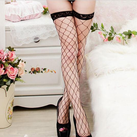 - 1 pair 4 Colors Women Net Sexy Lady Large Mesh Fishnet Thigh High Stockings Tights summer style QA194-3 -   jetcube