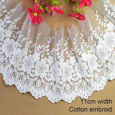 - 11cm width embroid sewing ribbon guipure lace fabric trim warp knitting DIY Garment Accessories african lace#2879 -   jetcube