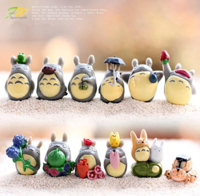 - (12pcs/lot) my neighbor Totoro figure gifts doll resin miniature figurines Toys 1-3cm PVC plactic japanese cute anime151210 - Default Title  jetcube
