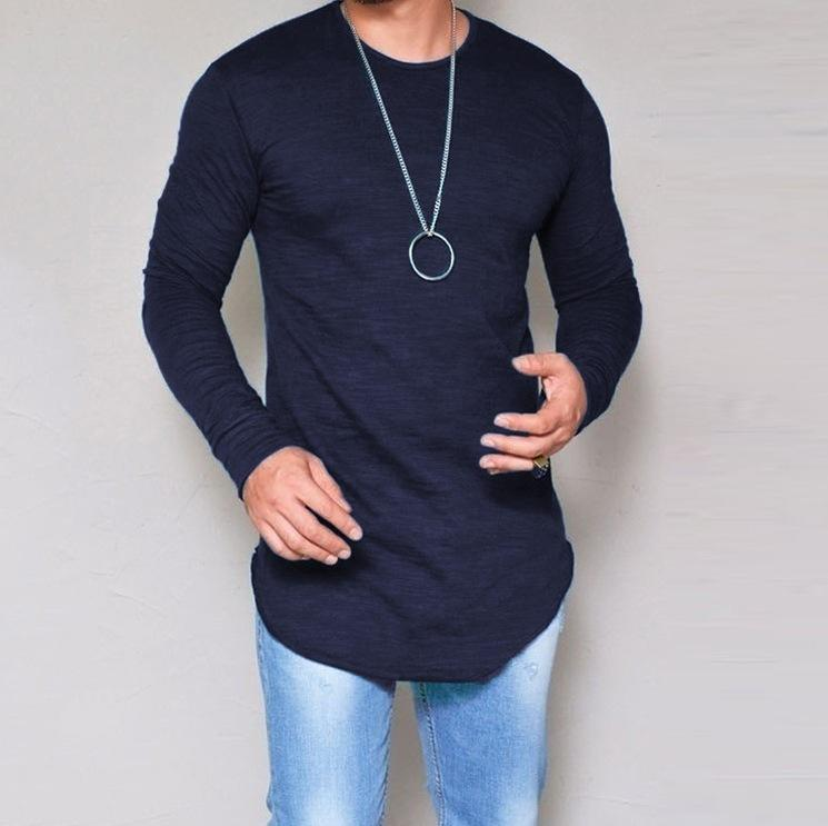 - 10 Colors Plus Size S-4XL 5XL Summer&Autumn Fashion Casual Slim Elastic Soft Solid Long Sleeve Men T Shirts Male Fit Tops Tee -   jetcube