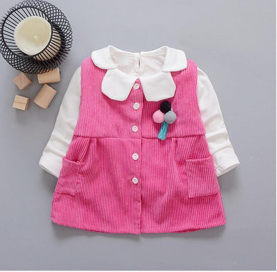 - 0-2-year-old female baby fashion new cotton long-sleeved T-shirt and corduroy vest 2 PCS / set + free gift - Multi / 12M  jetcube