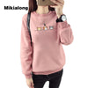 Mikialong 2017 Kawaii Harajuku Women Hoodies Cat Sweatshirt Female Winter Warm Fleece Korean Sweatshirt Long Sleeve Jumpers