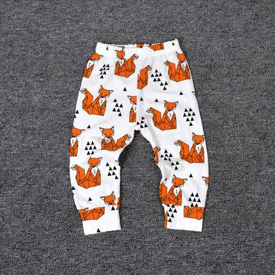 - 0-2T Spring Autumn Baby boy and girl pants Cotton Stripes & Grids &Geometry Printing girl leggings Baby boy trousers Harem pants - Orange / 12M  jetcube