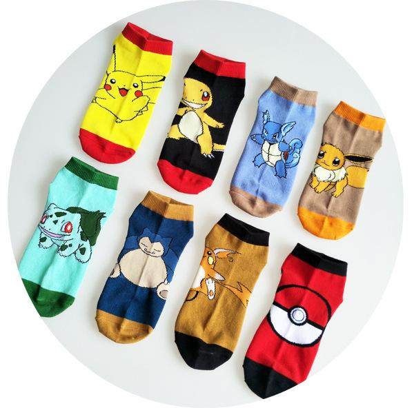 - % Fashion Art Unisex Women men and kdis Cotton Socks pokemon Pattern Hip Hop Harajuku Calcetines Cotton Socks Low Ankle Socks -   jetcube