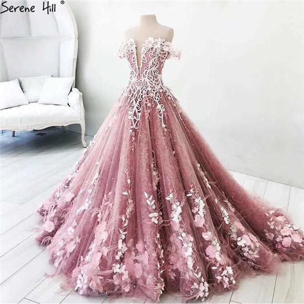 Long Arabic Turkish Pink Lace Formal Evening Prom Party Ball Gown ...