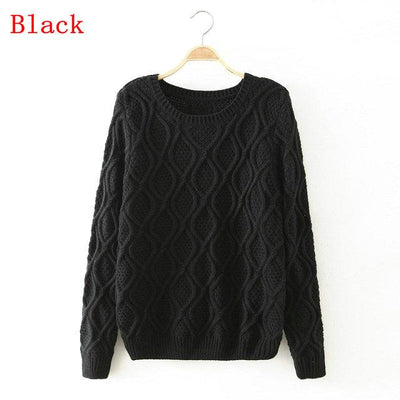 - 12 Color ! Hot New Autumn Winter Women Fashion Cotton Elastic Sweater Lady Knitted Long Sleeve O-neck Woolen Pullovers - 012Black / L  jetcube