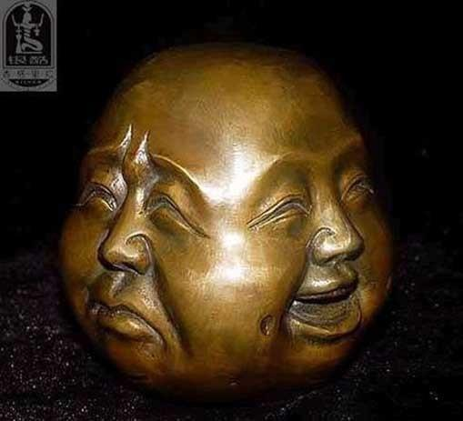 Crafts Arts Decoration Brass Rare chinese tibet brass 4 faces buddha head statue cooking tools wedding  UpCube- upcube