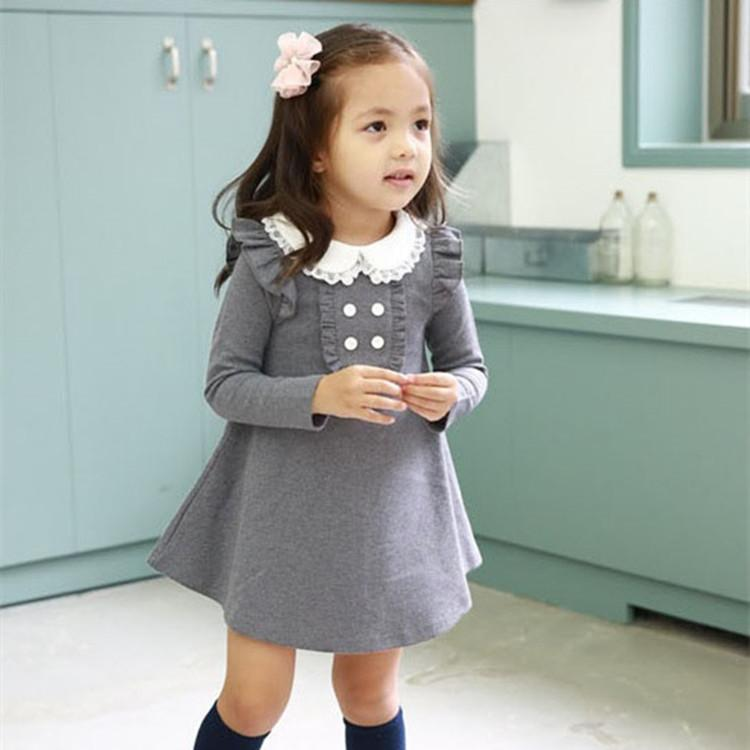 2017 autumn winter cotton girl korean clothes doll collar long sleeved fashion girls A-line mini dress kids clothing