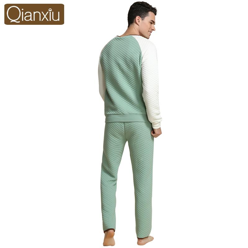 2017 Autumn Qianxiu Brand Casual Men Warm Pajama sets Male Cotton Sleepwear suit Lovers Patchwork V-neck collar Coat + Pants