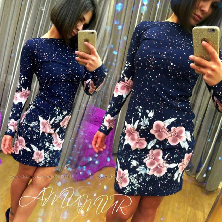 2017 Autumn Printed Floral Long sleeve Sheath dress O-neck Bodycon Mini dresses Party wear dresses