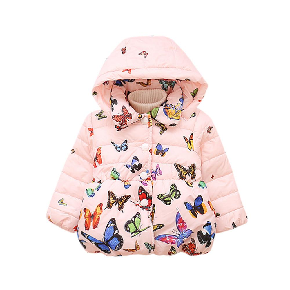 Fashion girls coat Baby Infant Autumn Winter Hooded Butterfly Coat Cloak Jacket Thick Warm Clothes beautiful girls lowest price