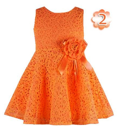 - 0-2 Years New Gift Summer Lace Vest Girls Dress Baby Girl Cotton Dress Chlidren Clothes Kids Party Clothing For Girls - Orange / 12M  jetcube