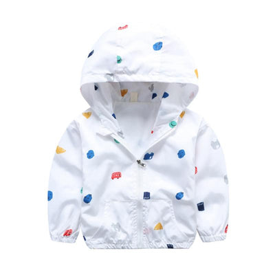 - 2-6T Baby Boys Girls Jacket Coats 2017 Summer Cars Printing Hooded Boys Jackets Fashion Boys Clothing Outwear&Coats for Kids - White / 24M  jetcube