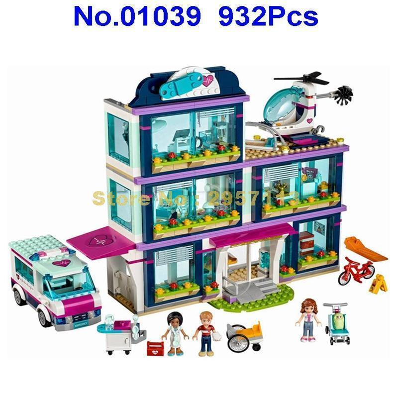 - 01039 932pcs Heartlake City Park Love Hospital Girl Friends Lepin Building Block Compatible 41318 Brick Toy -   jetcube