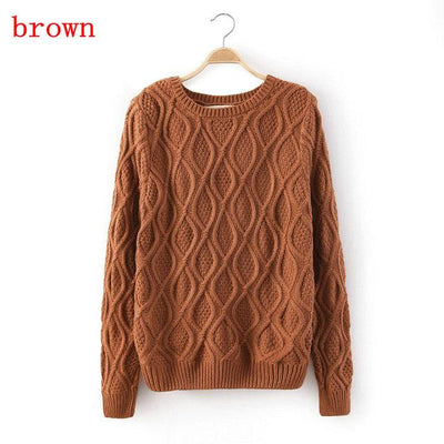- 12 Color ! Hot New Autumn Winter Women Fashion Cotton Elastic Sweater Lady Knitted Long Sleeve O-neck Woolen Pullovers - 012Brown / L  jetcube