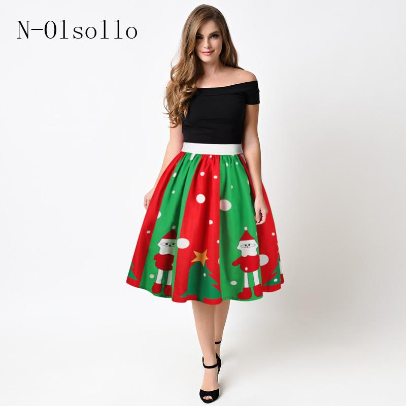 397de15945 2017 Saias Midi Tutu Skirts Fashion Elastic Waist Sexy 3D Christmas Series  Printed Women Skirts Polyester