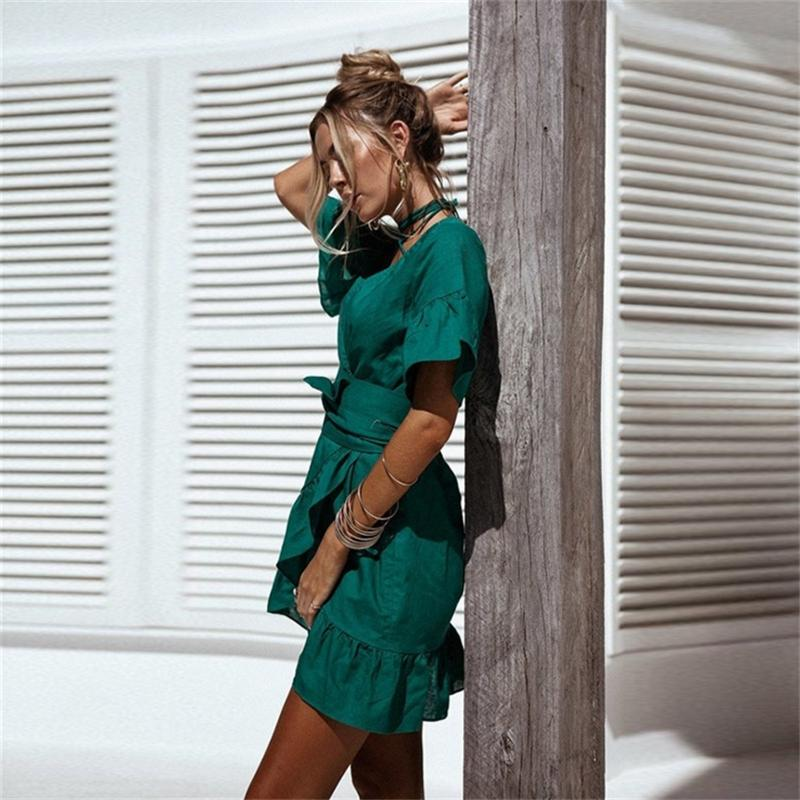 Sexy Mermaid Dress Women Autumn Dress 2017 New Solid Bandage V-Neck Short Flare Sleeve High Waist Sashes Beach Women Dress Green