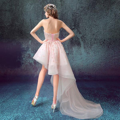 100% Real Images Elegant Pink Cocktail Dresses Asymmetrical Side Long Short  Party Lace Sequin db08fc618117