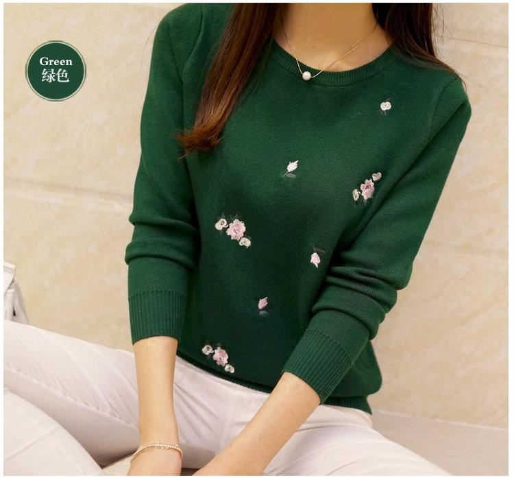 2017 Autumn Sweater Women Embroidery Knitted Winter Women Sweater Pullover Female O-Neck Knitted Sweater Women Long sleeve Tops