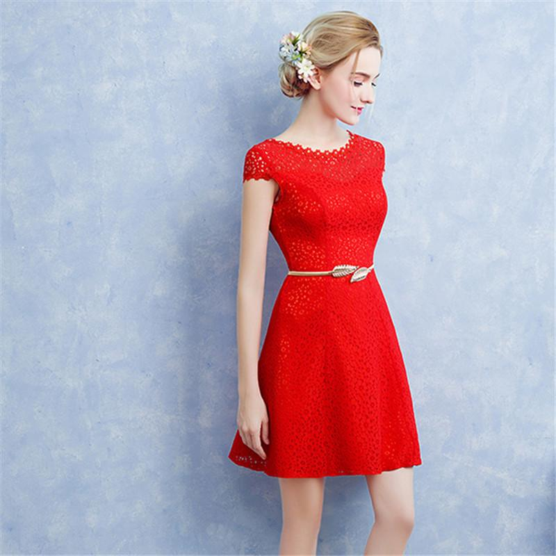 It s YiiYa 2018 Popular Red Short Sleeve Knee Length Dinner Cocktail  Dresses Lace Sashes Party Formal 818ebe80e22a