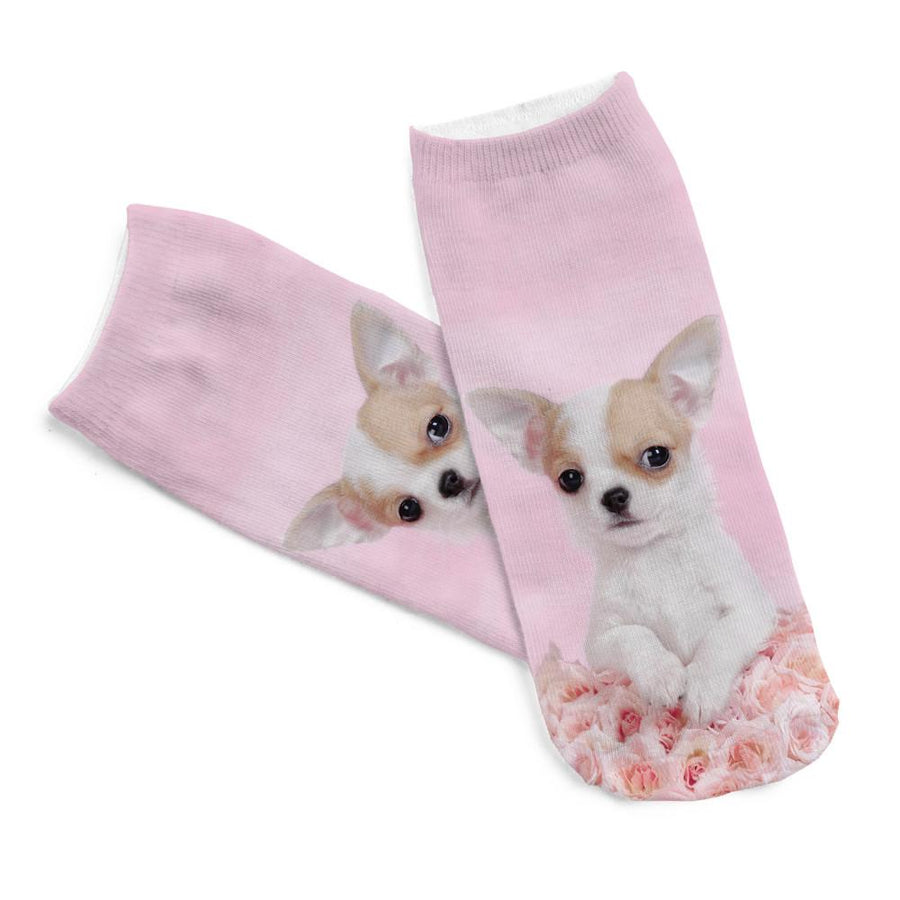 - 1pair 3D Pink Rose Dog Pug Printed sock Men New Unisex Cute Low Cut Ankle Sock Women Short Socks for Sale - Default Title  jetcube