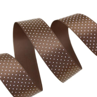 - (5 yards/lot) Small Dots Printed Satin ribbon lovely series ribbons wholesale (25mm&40mm) - Coffee / 25mm  jetcube