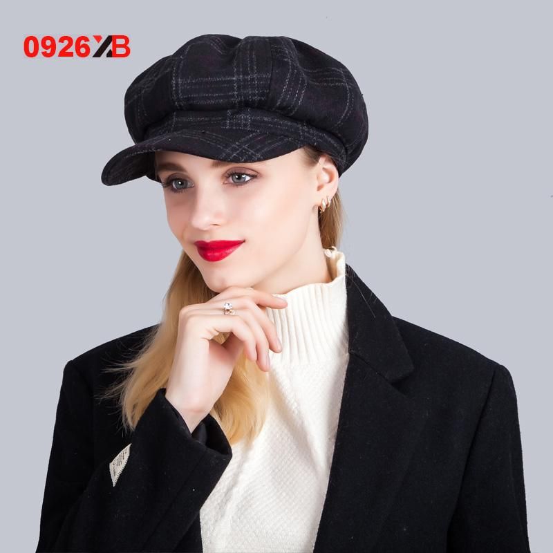 - 0926XB Berets Plaid Tweed Gatsby Newsboy Cap Women Khaki Wool Ivy Hat Golf Driving Flat Cabbie Flat Unisex Berets Hat XB-D603 - Black  jetcube