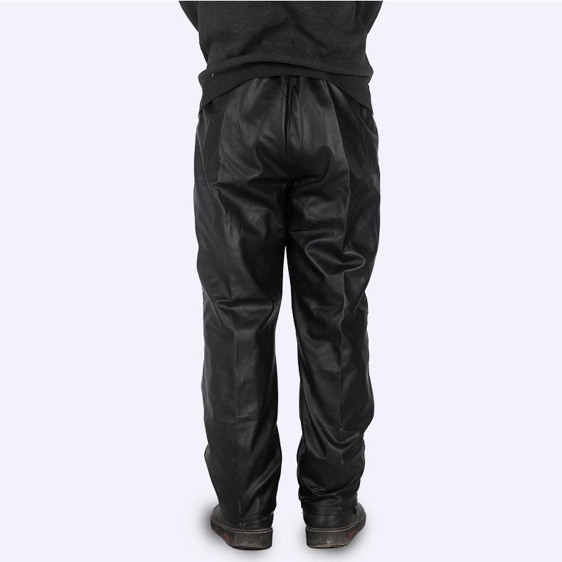 #2202 2017 Straight Black leather pants men Fashion Car wash Dust-proof Chef Work clothes Loose Elastic waist Side pocket - Jetcube