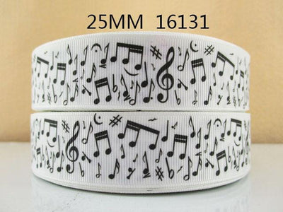 "- (5yds per roll) 1""(25mm) Music high quality printed polyester ribbon 5 yards,DIY handmade materials,wedding gift wrap,5Yc1150 -   jetcube"