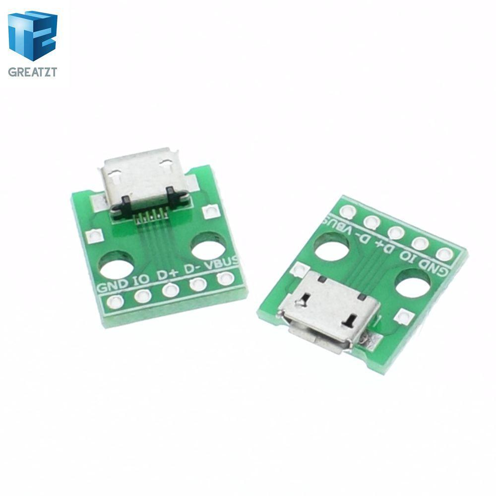 - 10pcs MICRO USB to DIP Adapter 5pin female connector B type pcb converter pinboard 2.54 -   jetcube