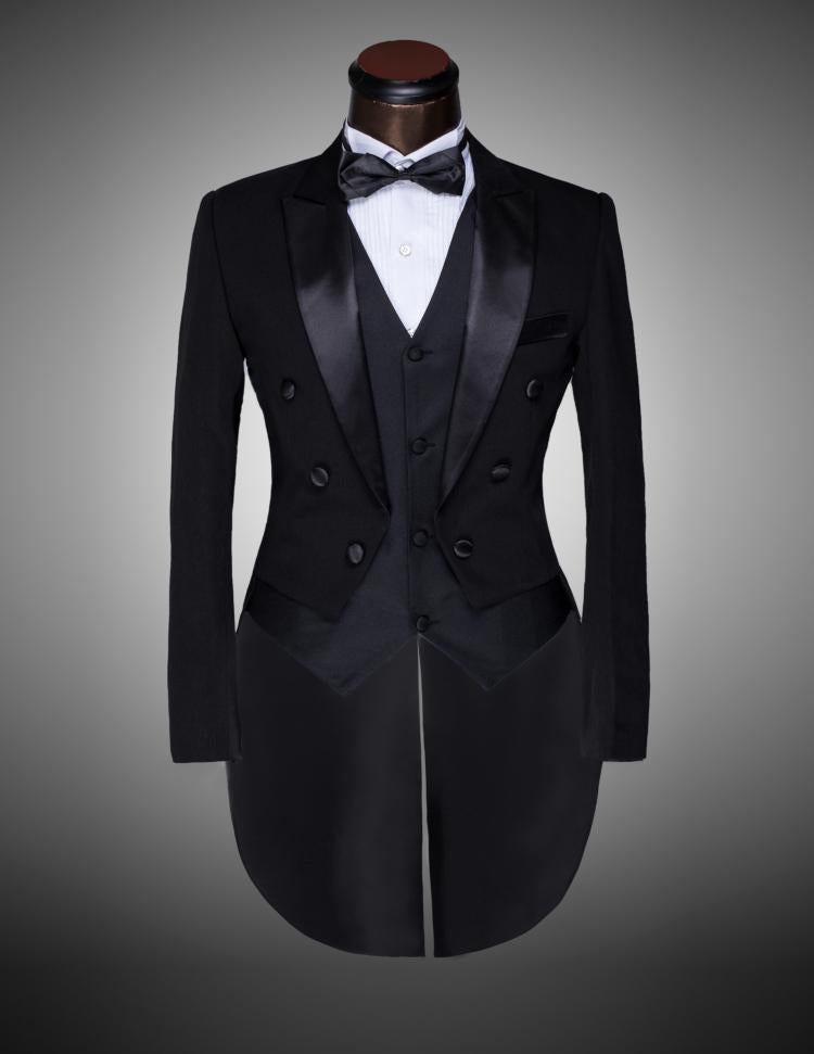 ( Jacket + Pants + Vest + Bow tie ) 2017 Fashion Men Suits Tailcoat Tuxedo Prom Groom Wedding White Black Slim Fit Male Singer