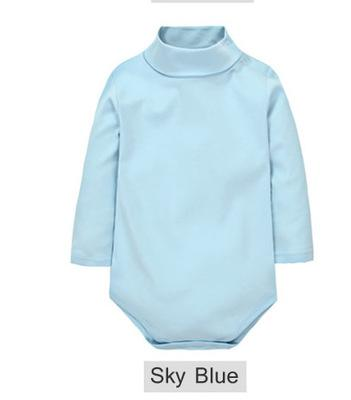 - 12 Color Baby Clothes 0-24M Newborn baby boy girl clothes Jumpsuit Long Sleeve Infant Product solid turtleneck Baby Rompers - Sky Blue / 12M  jetcube