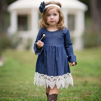 - 2-14Y Girl Evening Dress Baby Girls Lace Princess Dress Children Clothes Kids Long Sleeve Denim Party Dresses Autumn Winter - Blue / 10  jetcube