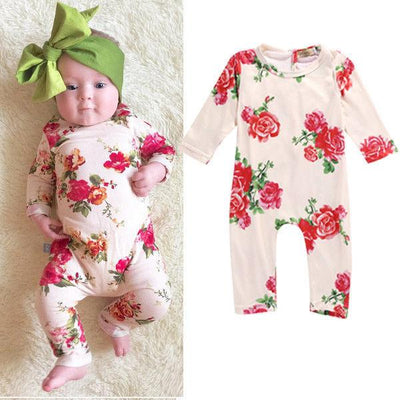 - 0-2Y Newborn Kids Baby Girls Clothing Infant Romper Jumpsuit Long Sleeve Flower Clothes Outfit Set -   jetcube
