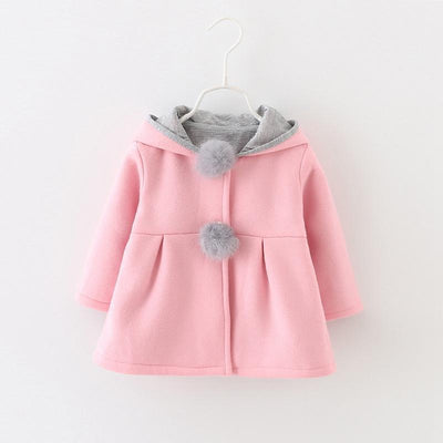 - 0-24 Months Autumn Winter Jackets for Girls Cute Rabbit Ear Hooded Baby Girl Coat 2017 New Style Solid Newborn Baby Outwears - Pink / 12M  jetcube