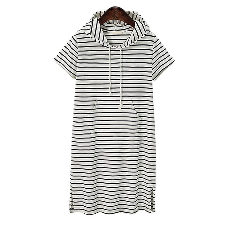 Plus Size 4XL 5XL Women Hoodies Shirt Dress Summer Short Sleeve Black And White Striped Blouse Dresses Casual Work Office Dress