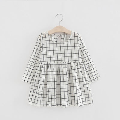 - 2-6y Autumn Girls Dress Long Sleeve Black Plaid Children Dress Cotton Dress Clothes for Girls Fashion Kids Clothing - plaid / 2T  jetcube