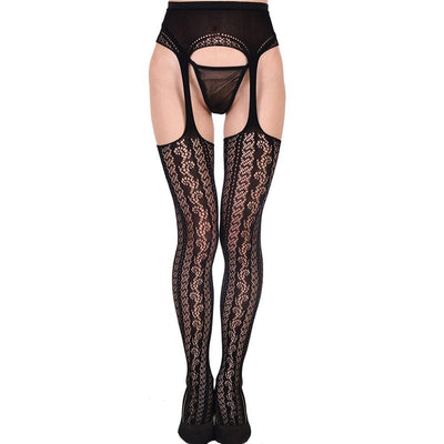 Women suspender fishnet tights sexy pantyhose garter mesh strumpfhose open crotch collant fantaisie ouvert pantimedias