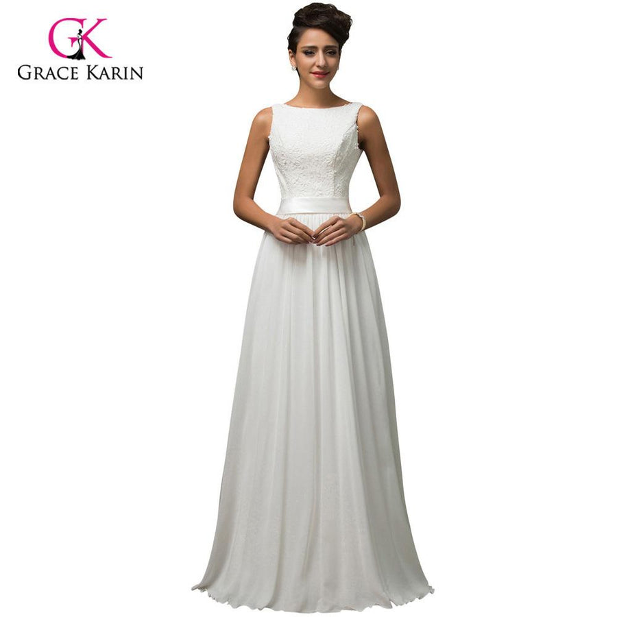 a0531d739a Beach White Wedding Dresses 2018 Grace Karin Chiffon Low back Cheap vestido  de noiva lace Long
