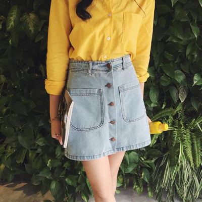 - 018 New summer Womens ladies A-line Pencil Jeans Skirt Front Button High Waist Denim small pockets Skirt black white -   jetcube