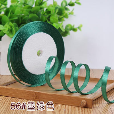 - (25 Yards/roll ) 6mm 22meters Single Face Satin Party Wedding Decoration Gift Wrapping Christmas DIY Material Supplies 48 Colors -   jetcube
