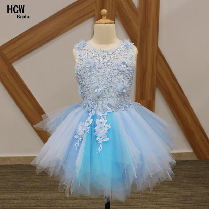 Light Blue Ball Gown Flower Girl Dresses 2018 Amazing Lace Flowers ...